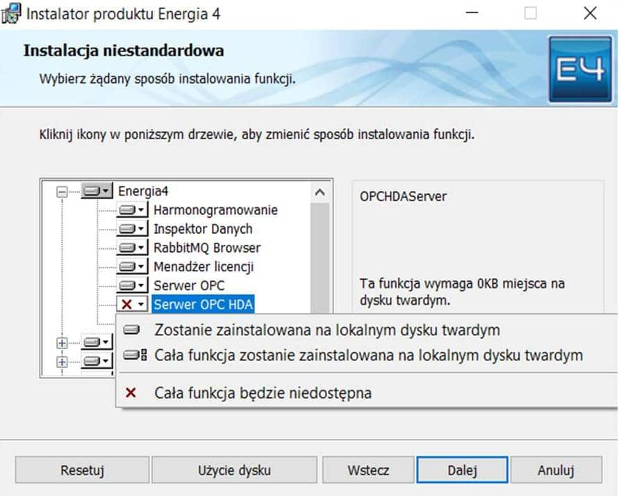 Kreator instalacji serwera OPC